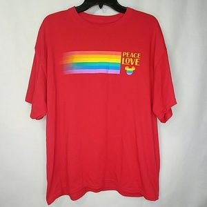Disney Red Peace Love Rainbow Mickey Mouse T-Shirt